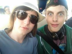 Chris and I on the bus to Latitude Festival 2012.