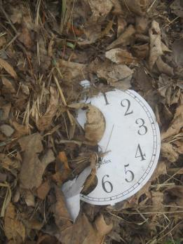 clock face found in the leaves on a bike ride 4-12-14