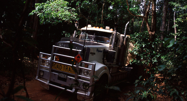 "Garry White, ""the world's toughest trucker,"" delivers diesel fuel to the cattle stations, aboriginal communities and remote settlements of the Cape York Peninsula in far north Queensland, Australia. Writer and photographer Tom Clynes rode along on his 2,400 km round trip through the continent's most inaccessible wilderness. (Tom Clynes)"