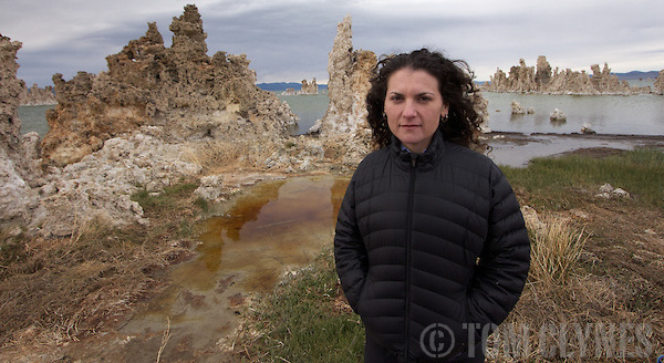 Felisa Wolfe-Simon at Mono Lake, California, where collected the GFAJ-1 bacterium. Her paper in the journal Science, which suggested that the microbe could substitue arsenic for phosphorus, generated significant controversy in the scientific community. (Tom Clynes)