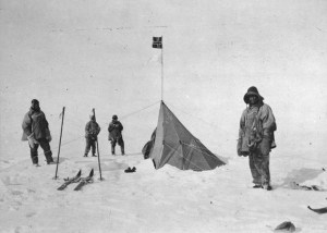 Scott and his team stand defeated at Amundsen's Polar camp