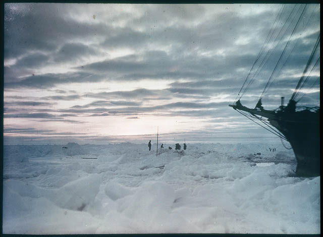 The impenetrable icefield which prevented us from reaching the land [showing part of the 'Endurance'], 1915 / photographed by Frank Hurley