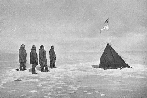 Roald Amundsen team at the South Pole