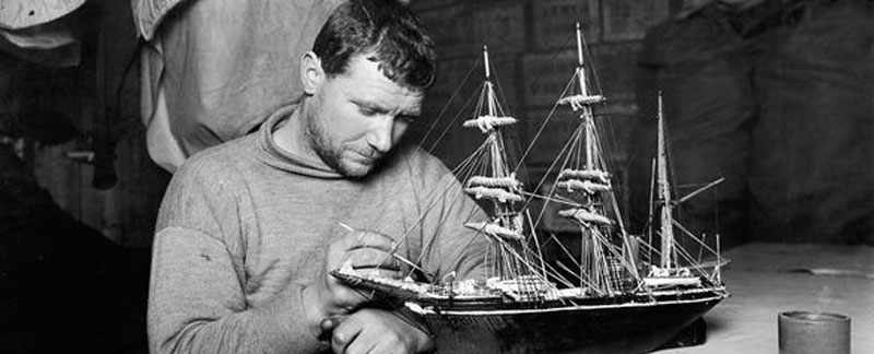 Edgar Evans working on a scale model of the Terra Nova.