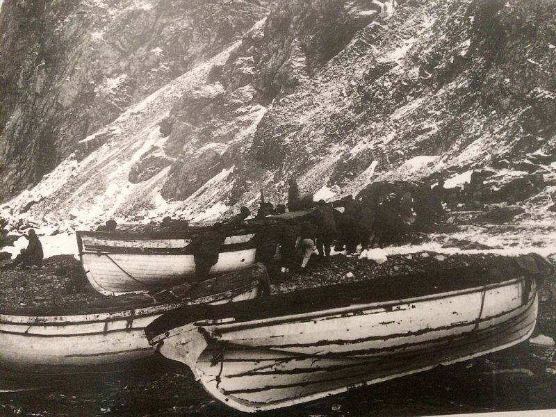 Hauling the James Caird up Providence Beach, Elephant Island