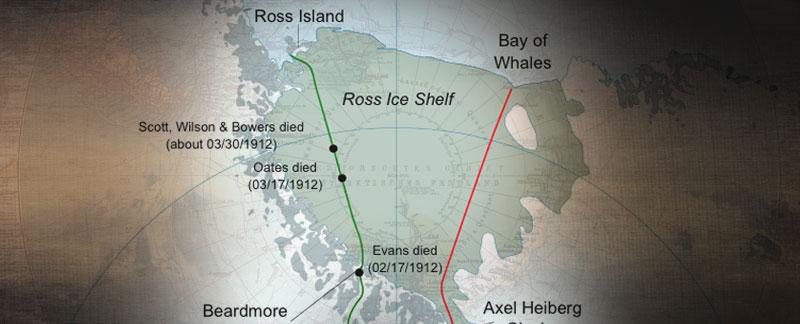 South Pole Route Maps - Scott, Amundsen, Shackleton.