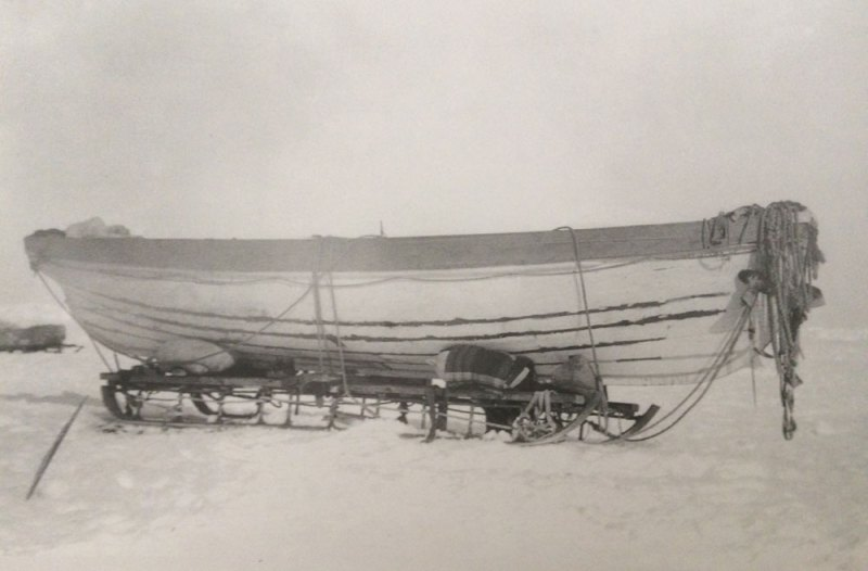 The James Caird readied for journeying, at Ocean Camp.