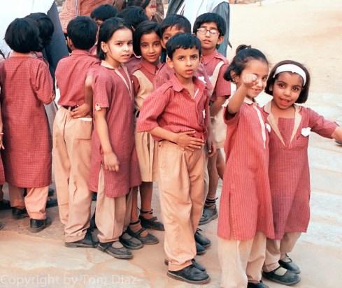 """The Field Trip."" School children at the Qutb Minar in Delhi, India. November 2003"