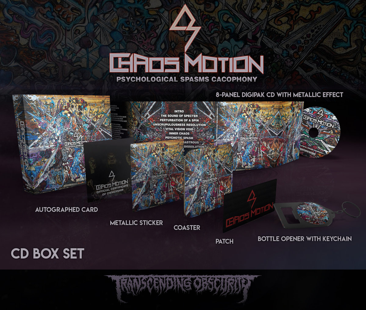 CHAOS MOTION Autographed Metallic CD Box Set - TRANSCENDING OBSCURITY