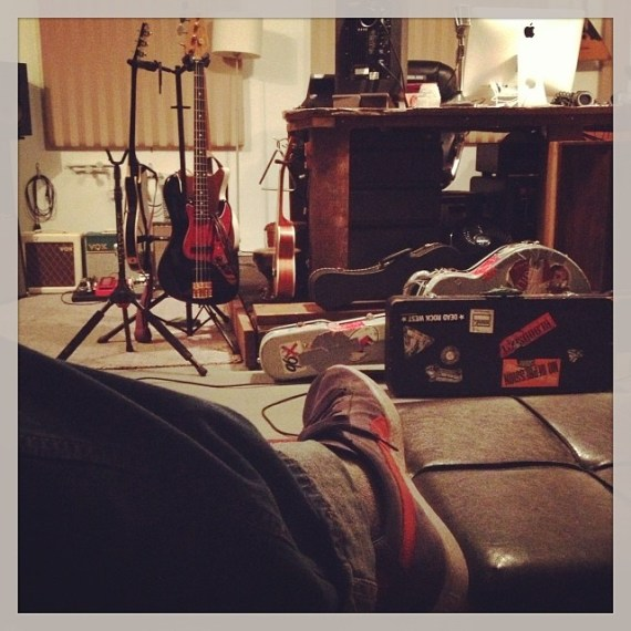 Studio pause.  Guitars and sneakers. And speakers! What is next? Gotta get #dashingthroughthesnow outta my head!!!