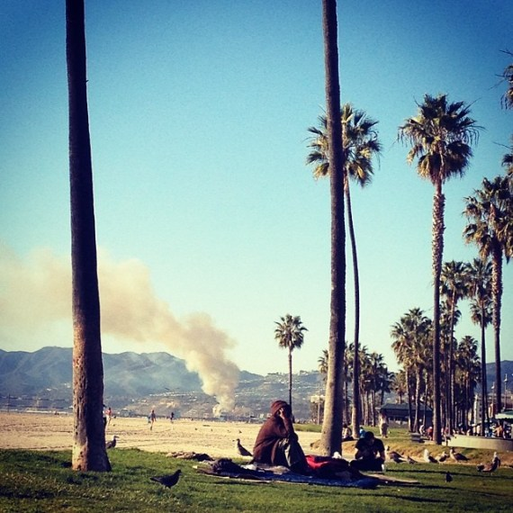 Tool a break from the studio, had my cheeks in the sun, then looked to my right and saw Santa Monica burning #dayofthelocusts thoughts abound . . .