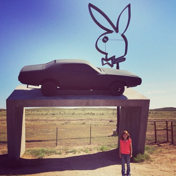 Marfa parting shot!! My girl knows nothing of the controversy - Just a floating #Dodge and #Bunnyears - as it should be. Adios tejas! ! !