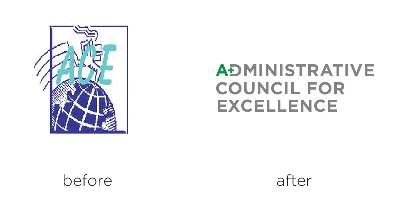 ace administrative council for excellence logo redesign before an after