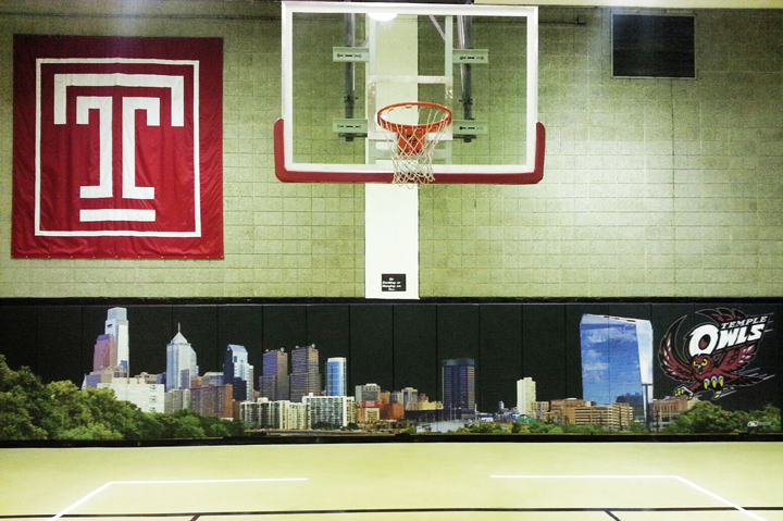Temple University philadelphia cityscape wall padding graphics