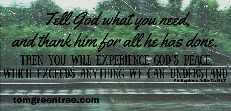 Tell God what you need, and thank him for all he has done.