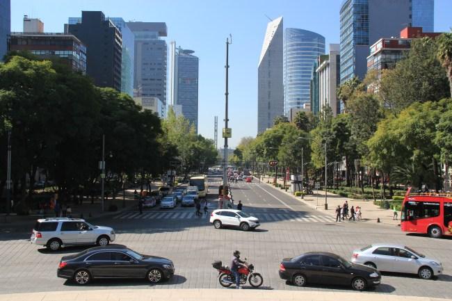 View down Paseo de la Reforma
