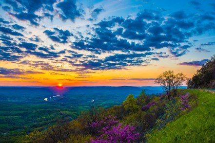 The sun sets over Massanutten Mountain & the South Fork of the Shenandoah River