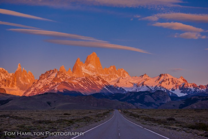 """""""Patagonia Logo"""". The Fitz Roy Range in Los Glaciares National Park in Argentina is basked in alpenglow."""
