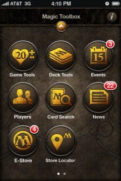 Magic application smartphone Menu
