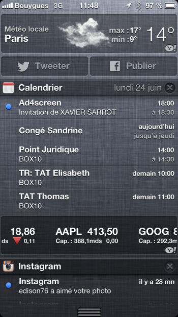 iOS 6 Centre de notifications