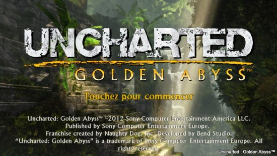 uncharted golden abyss start screen