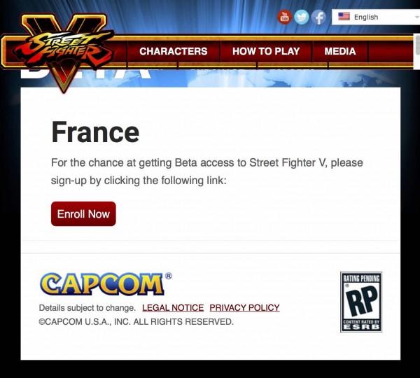 Street Fighter V Beta program