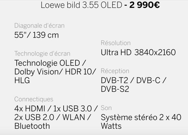 Caractéristiques Loewe Bild 3.55 OLED 4K