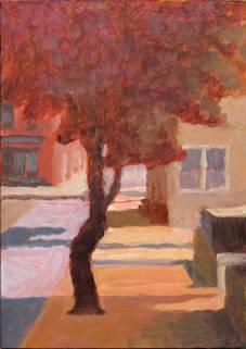 Church Street Tree, Tom Jackson oil on panel