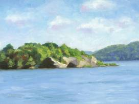 Island in the Susquehanna, Tom Jackson, oil on panel