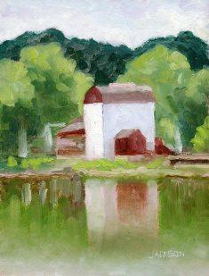 New Hope Playhouse from Lambertville, Tom Jackson, oil on panel