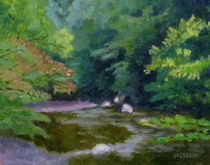 Ridley Creek back in the Woods, Tom Jackson, oil on panel