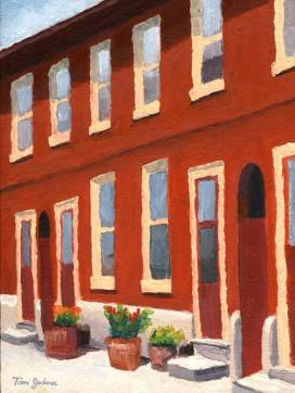 Old Red Row Houses, Tom Jackson, oil on panel