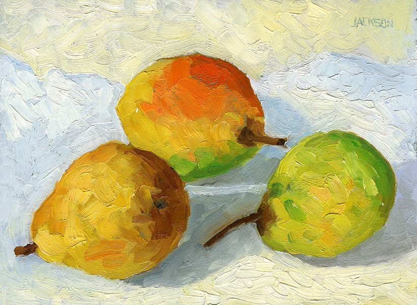 Pears in the Morning, oil on board, Tom Jackson