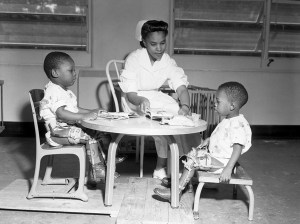 Nurse Grace Kyler working with polio victims at the FAMU Hospital.