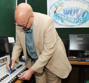 Tom Joyner autographed the control board at UVI's student radio station WUVI during his 2014 Fantastic Voyage stop in St. Thomas.
