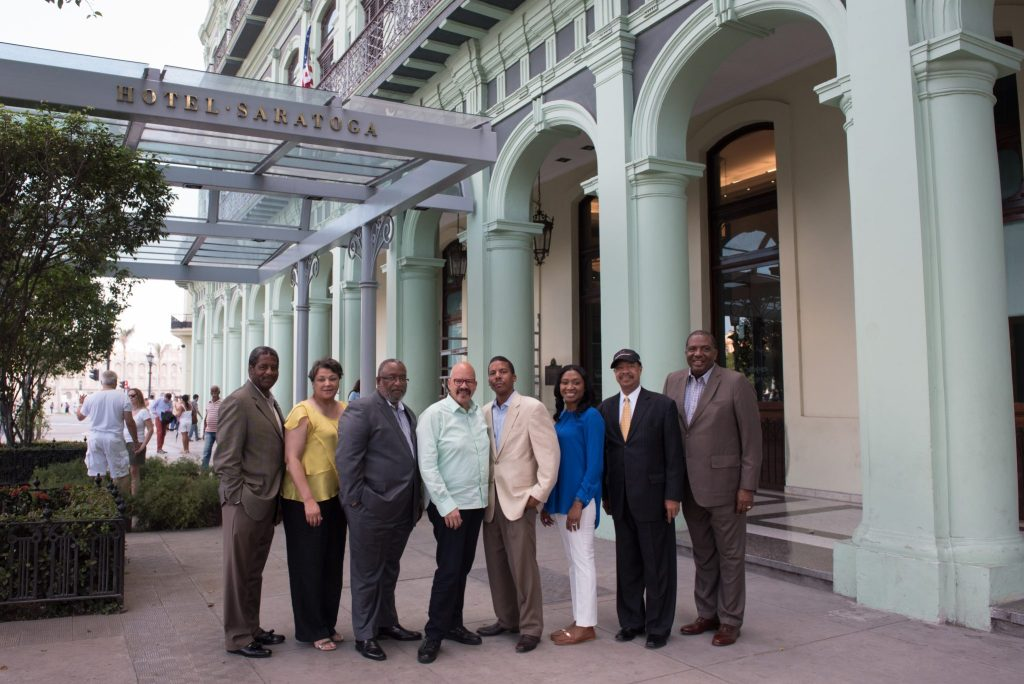 L. to r: Raymond Burse, Cynthia James-Hammond, Lester Newman, Tom Joyner, Thomas E. Joyner, Jr., Tashni-Ann Dubroy, John Rudley and Texas State Sen. Royce West in Havana, Cuba on the Foundation's historic mission.
