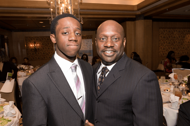 From left: Full Ride Scholarship finalist Bomani Kopano and his father. (Photo: Jesse Hornbuckle)