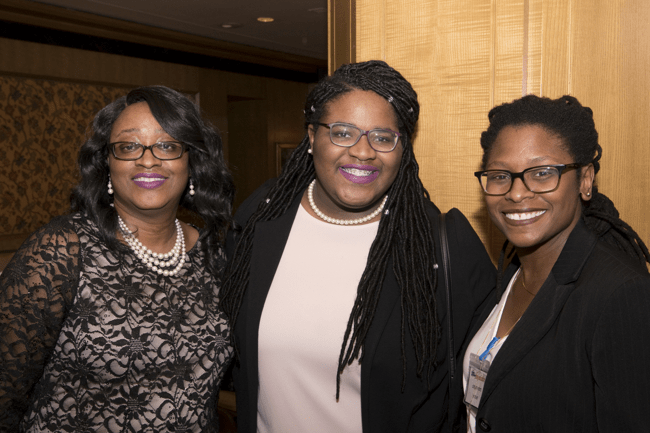 From left: Mother of scholarship finalist, Cailyn Clemons, Cailyn Clemons and TJF Director of Digital Strategy, Cherie S. White. (Photo: Jesse Hornbuckle)