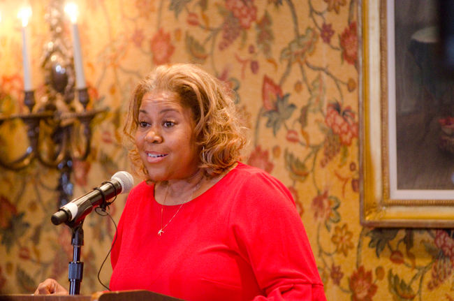 Sybil Wilkes, co-host of the Tom Joyner Morning Show, addresses the audience at the Full Ride Scholarship banquet. (Photo: Jesse Hornbuckle)