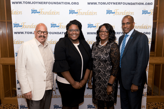 From left: Tom Joyner, Full Ride Scholarship Finalist Cailyn Clemons, her mother and Dillard University President Dr. Walter Kimbrough. (Photo: Jesse Hornbuckle)