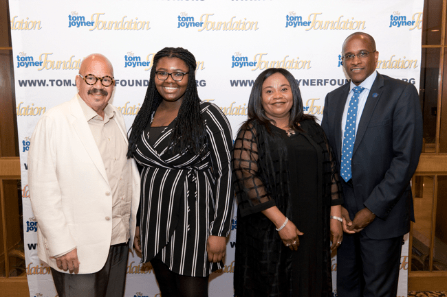 From left: TJF Founder Tom Joyner, Full Ride Scholarship finalist Shola Jimoh, her mother and Dillard University President Dr. Walter Kimbrough. (Photo: Jesse Hornbuckle)
