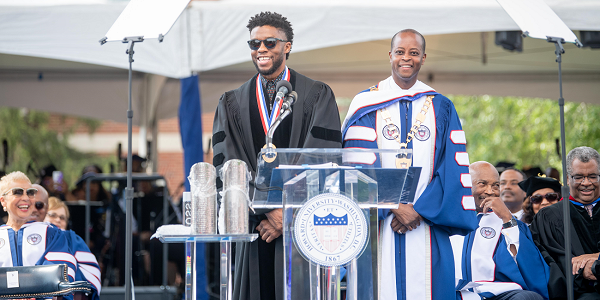 Howard University Commencement Speaker Chadwick Boseman takes it all in during the 2018 Commencement Ceremony on Saturday, May 12, 2018 in Washington, D.C. (Photo: Courtesy of Howard University)