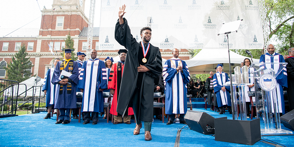 Chadwick Boseman greets the crowd at Howard University's 150th Commencement Ceremony on Saturday, May 12, 2018 in Washington, D.C. (Photo: Courtesy of Howard University)