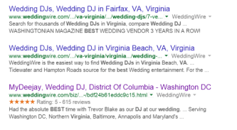 Google weddingwire online reviews