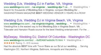 Google weddingwire online reviews
