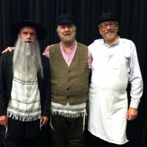 The Rabbi (Tom Duemling), Tevye (Tom Kephart), and Lazar Wolf (John Klecha)