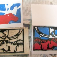 Three color Lino-Cut Print