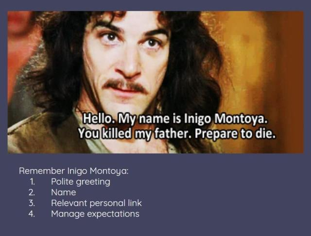 Hello. My name is Inigo Montoya. You killed my father. Prepare to die. Remember Inigo Montoya: Polite greeting, name, relevant personal link, manage expectations.