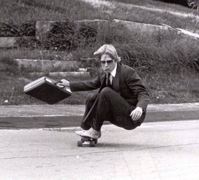 dad skateboarding doing something different