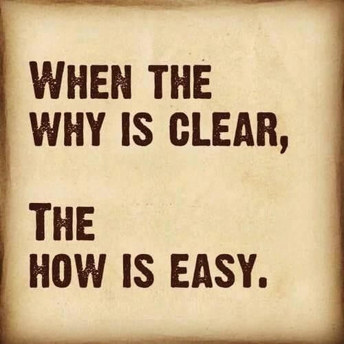 When the why is clear, the how is easy.